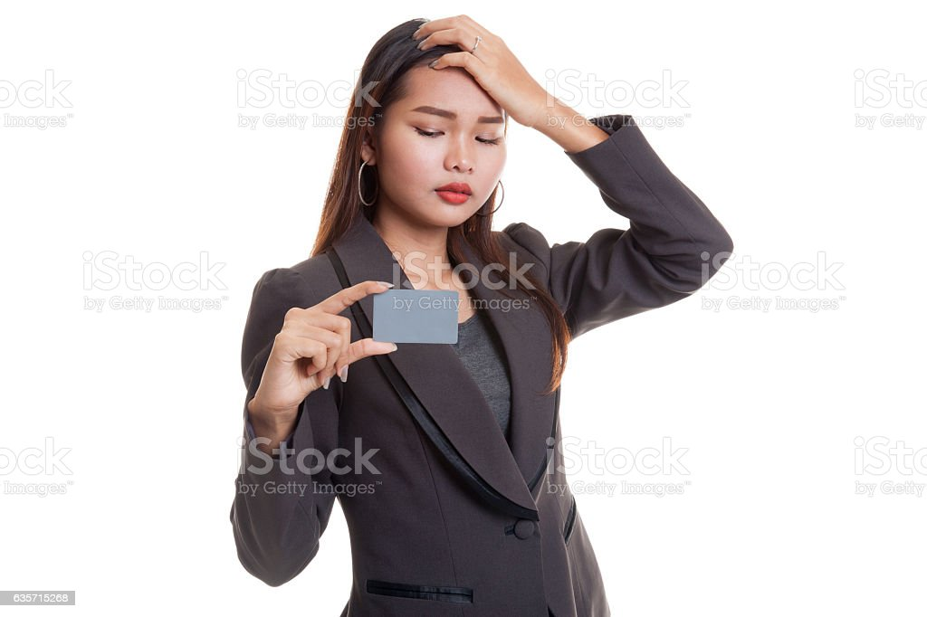 Young Asian business woman headache with a blank card. royalty-free stock photo