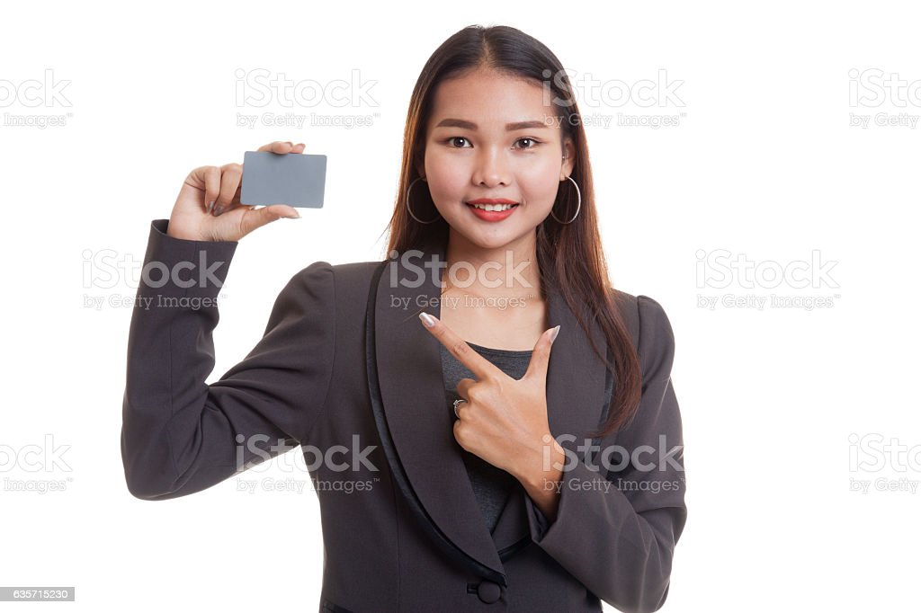 Young Asian business woman point to a blank card. royalty-free stock photo