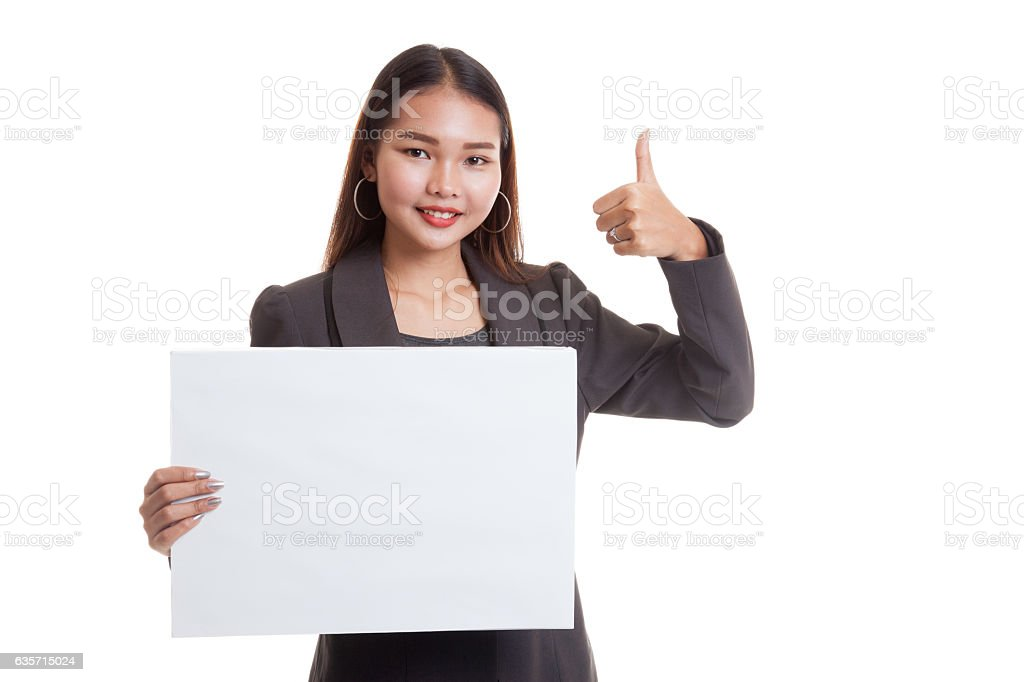 Young Asian business woman show thumbs up with  white royalty-free stock photo