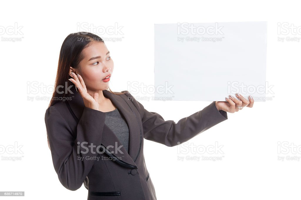Young Asian business woman  surprise with  white blank royalty-free stock photo