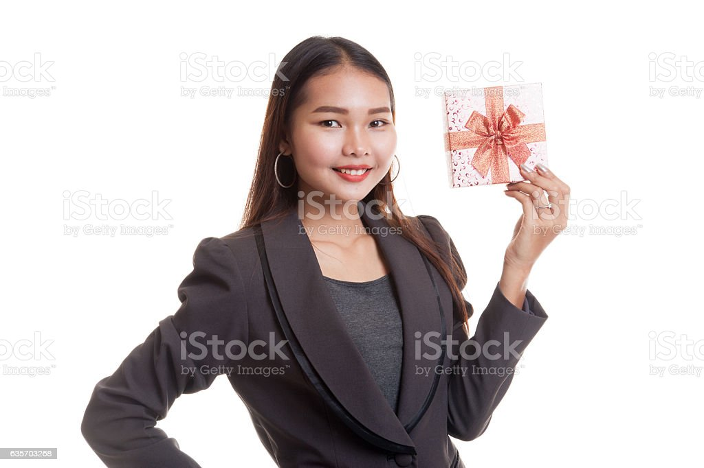 Young Asian business woman with a gift box. royalty-free stock photo