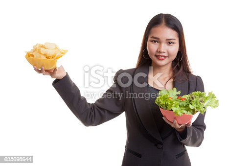 Young Asian Business Woman With Potato Chips And Salad Stock Photo & More Pictures of Adult