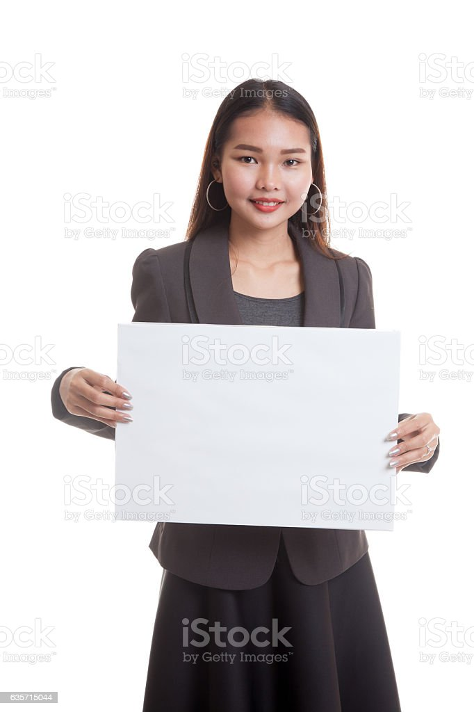 Young Asian business woman with  white blank sign. royalty-free stock photo