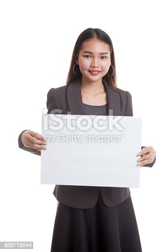 Young Asian Business Woman With White Blank Sign Stock Photo & More Pictures of Adult