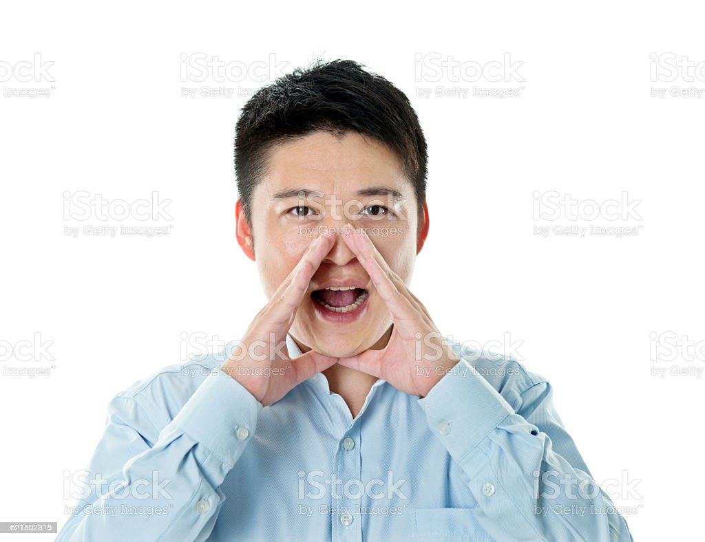 Young asian businessman shouting foto stock royalty-free