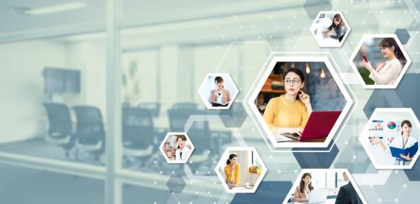 アジアの若きビジネスウーマンとコミュニケーションネットワークのコンセプト。 - ライフスタイル ストックフォトと画像