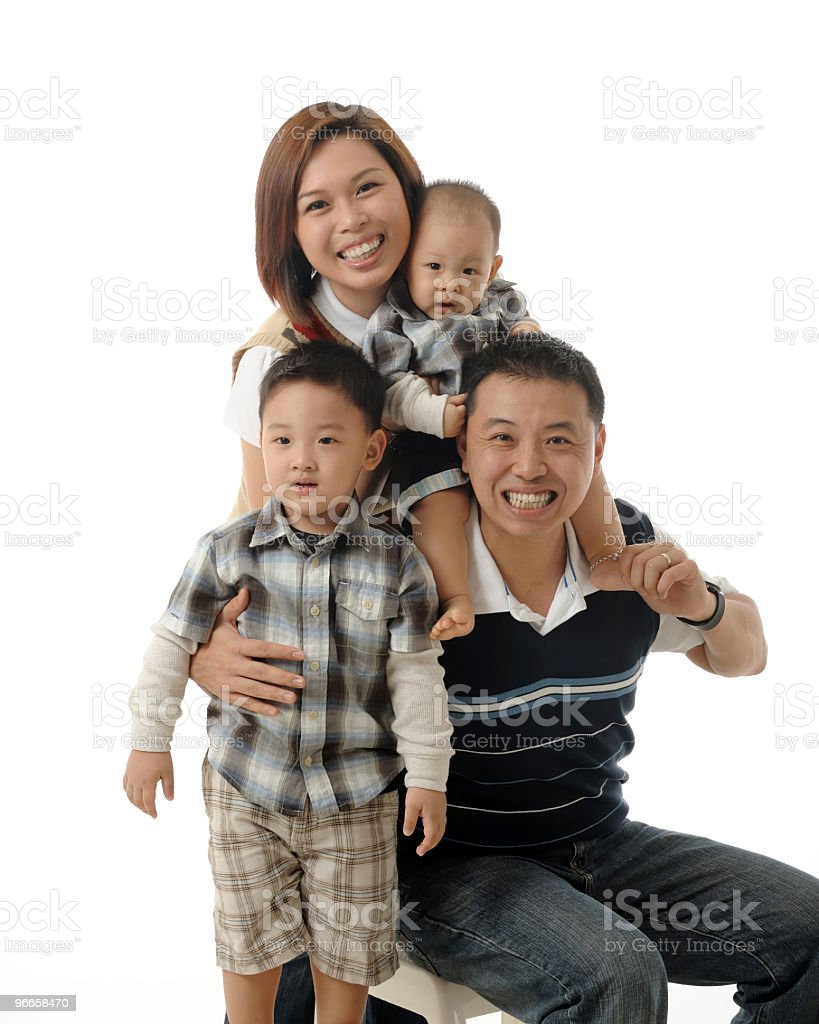 Young Asian Chinese family stock photo