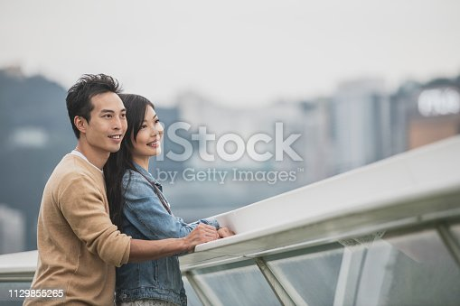 1083155024 istock photo Young Asian couple looking at view 1129855265