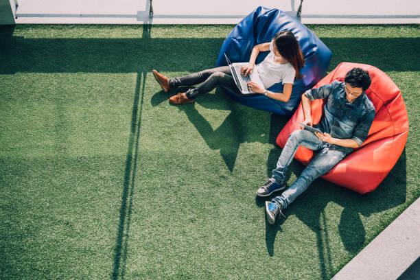 jovem casal asiático usando laptop notebook e tablet digital juntos no parque público moderno, sentar no saco de feijão, vista superior com espaço de cópia na grama. aparelho de tecnologia de informação ou conceito de negócio casual - college people laptop - fotografias e filmes do acervo