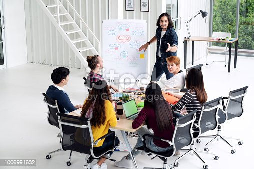 1031237974 istock photo Young asian creative man standing and making presentation at modern office happy talking and brainstorming with team. Casual multiethnic diverse people business meeting concept with rear view. 1006991632