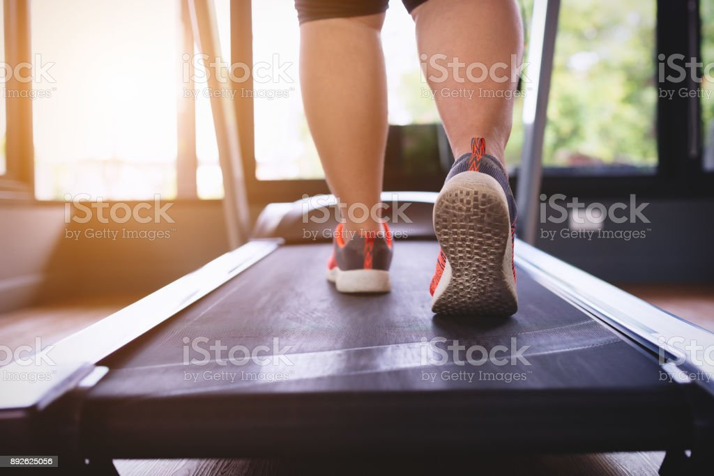 Young asian fat woman workout. stock photo