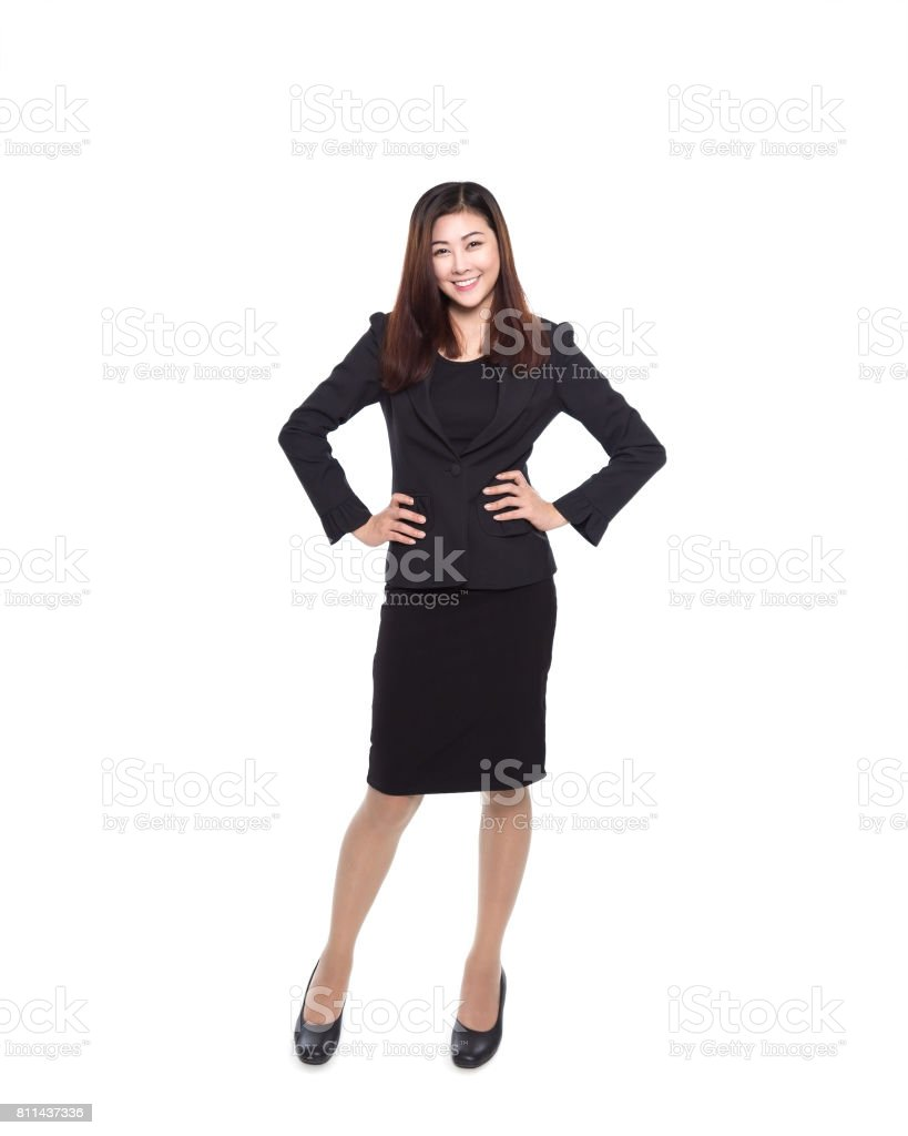 Young asian girl isolated on white background, business woman stock photo