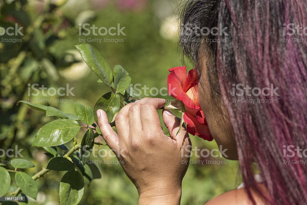 Young Asian Girl Smelling a Rose stock photo
