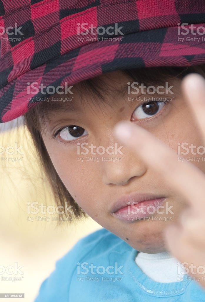 Young Asian Girl con sombrero a cuadros foto de stock libre de derechos