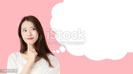 Young asian girl with speech balloon.