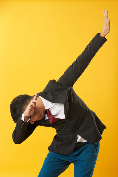 Young asian man showing dab stock photo
