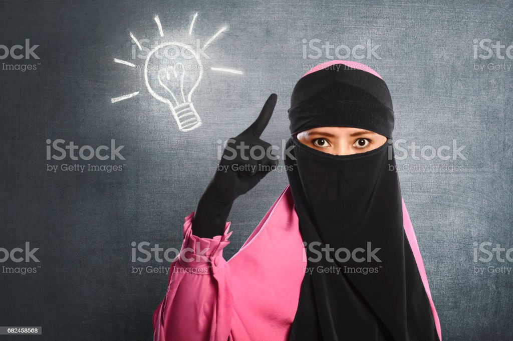 Young asian muslim woman wearing hijab having new idea royalty-free stock photo
