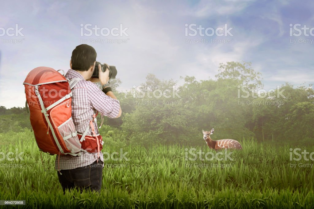 バックパックを取ると若いアジアの写真家 - 1人のロイヤリティフリーストックフォト