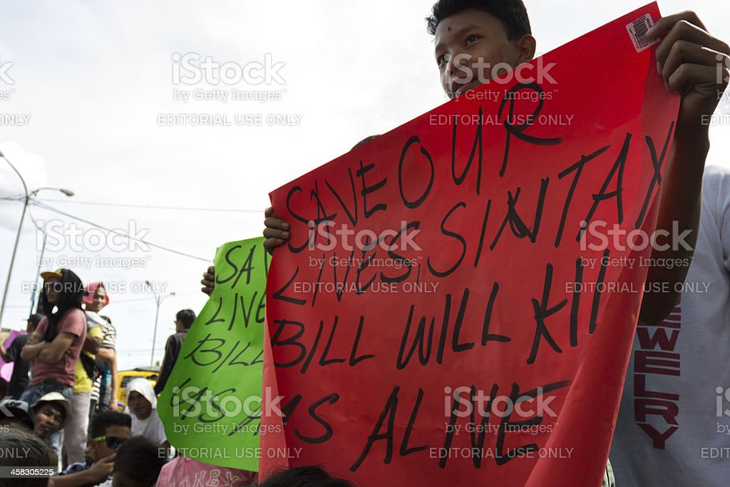 Young asian protester royalty-free stock photo