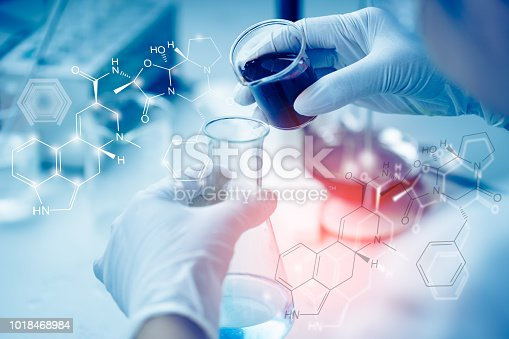 istock Young Asian Scientist are certain activities on experimental science like mixing chemicals or entry data to develop medicine, foods for everyone on the world, film effect. 1018468984