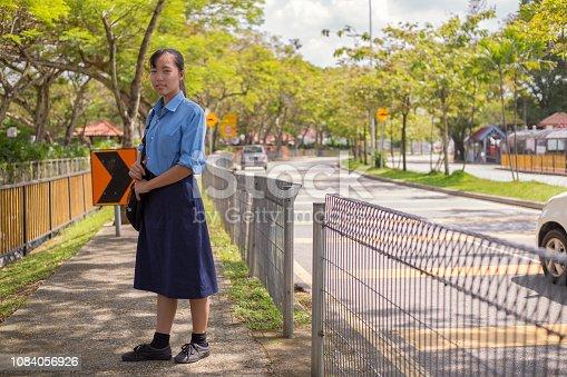 young adult, woman, female, girl, teenager, school, uniform, education, 10-19 years, walking, nature, tree, backpack