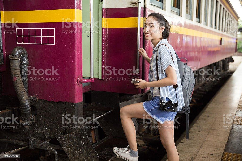 Young Asian Traveler Lizenzfreies stock-foto