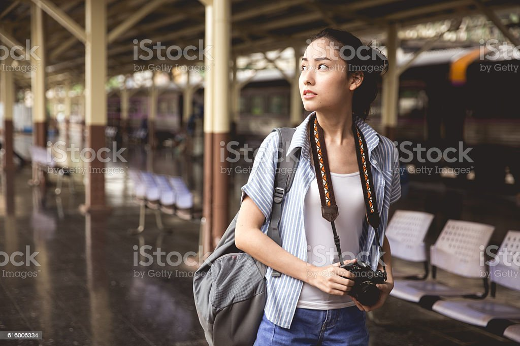 Young Asian Traveller stock photo