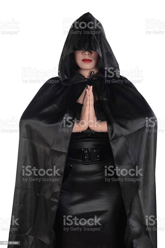 Young asian witch woman wearing black costume Lizenzfreies stock-foto