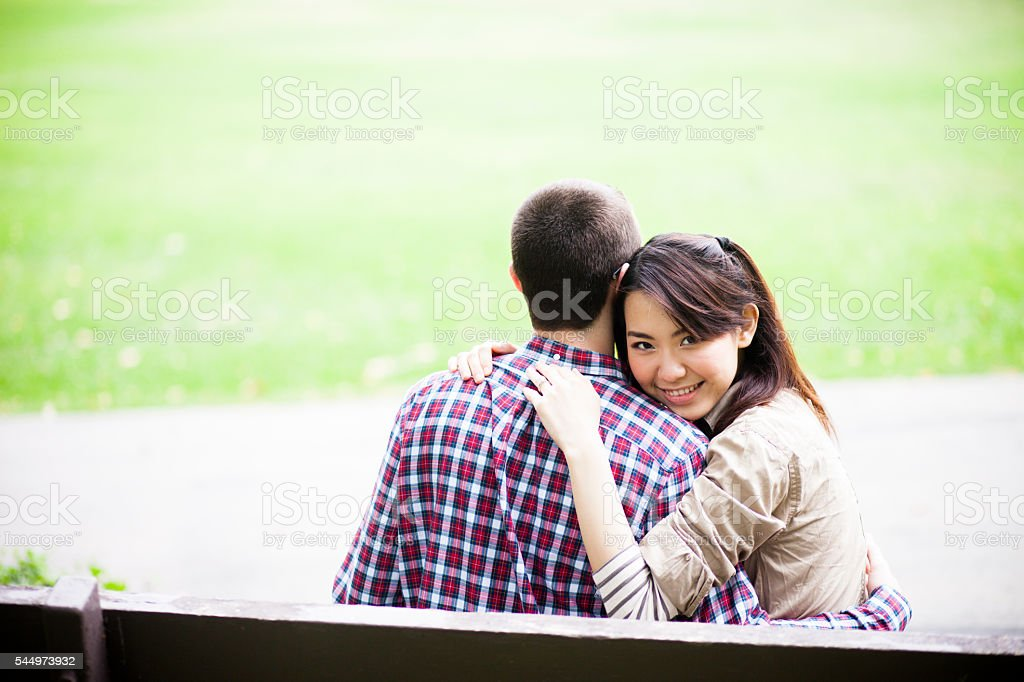 Young Asian Woman and Caucasian Man Couple royalty-free stock photo