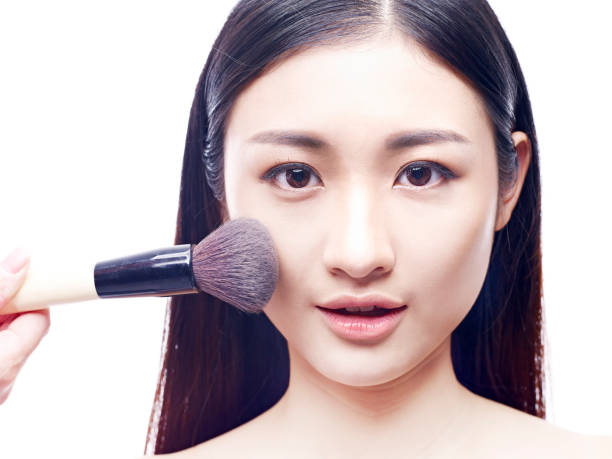 327 Apply Makeup Foundation With Brush On Beautiful Asian Model Face Stock  Photos, Pictures & Royalty-Free Images - iStock