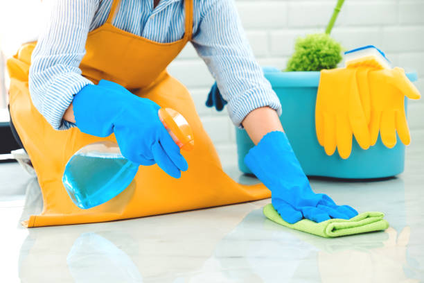 Young asian woman cleaning house her floor removing stains from floor with help of special cleaning with spray House keeping concept stock photo