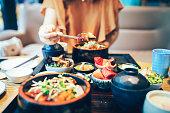 Women, Eating, Asia, Japan, Saltwater Eel,Food, Appetizer, Baked