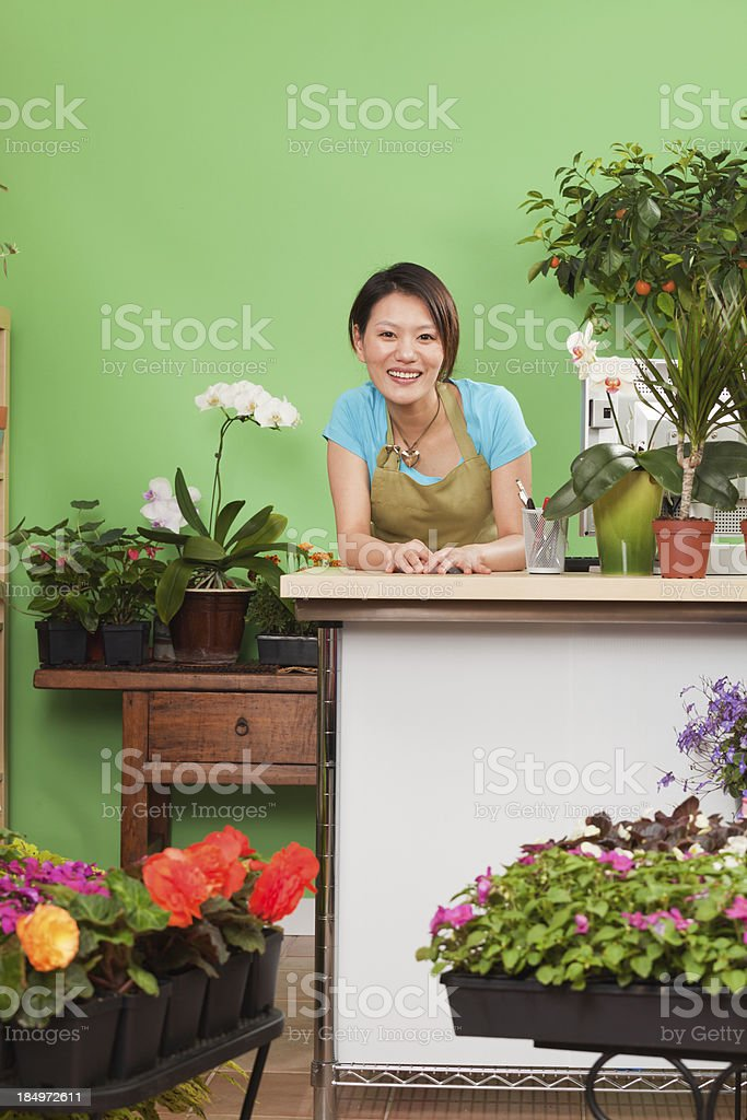 Young Asian Woman Entrepreneur Business Owner of Flower Garden Store royalty-free stock photo