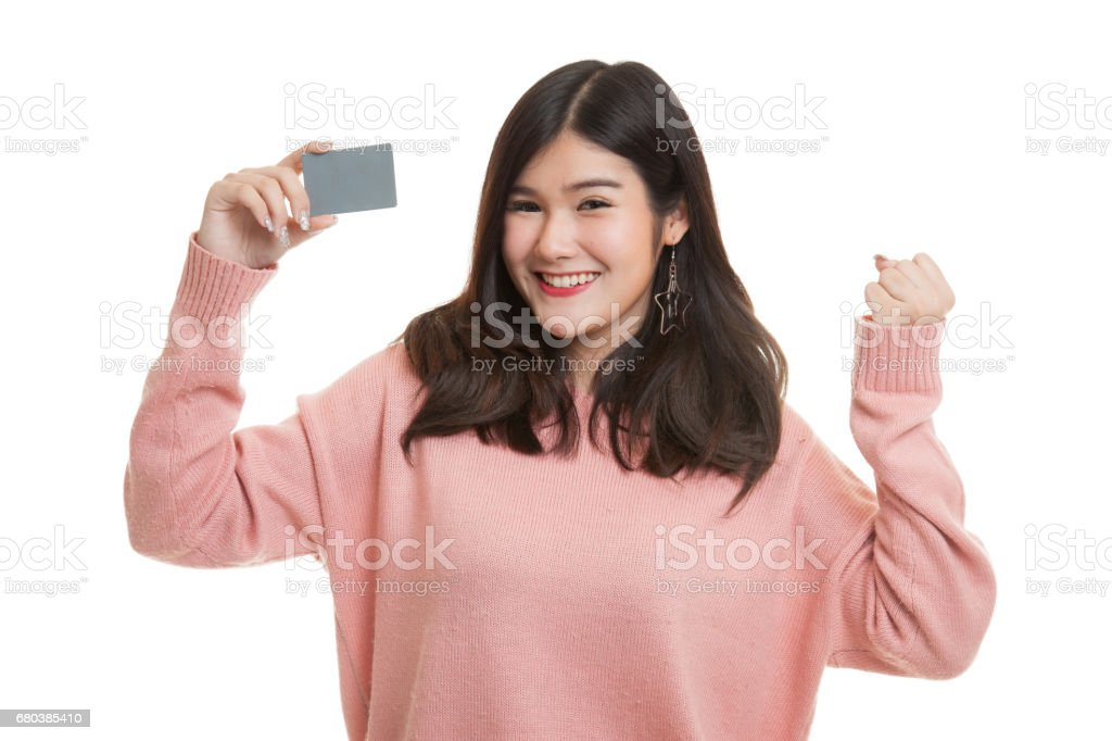 Young Asian woman fist pump with blank card. royalty-free stock photo