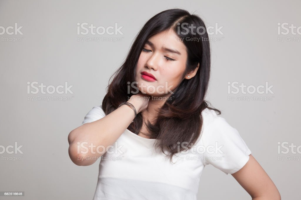Young Asian woman got neck pain. royalty-free stock photo