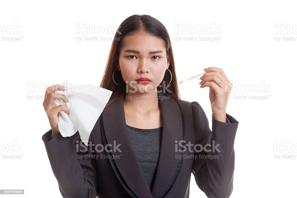 Young Asian woman got sick and flu. royalty-free stock photo