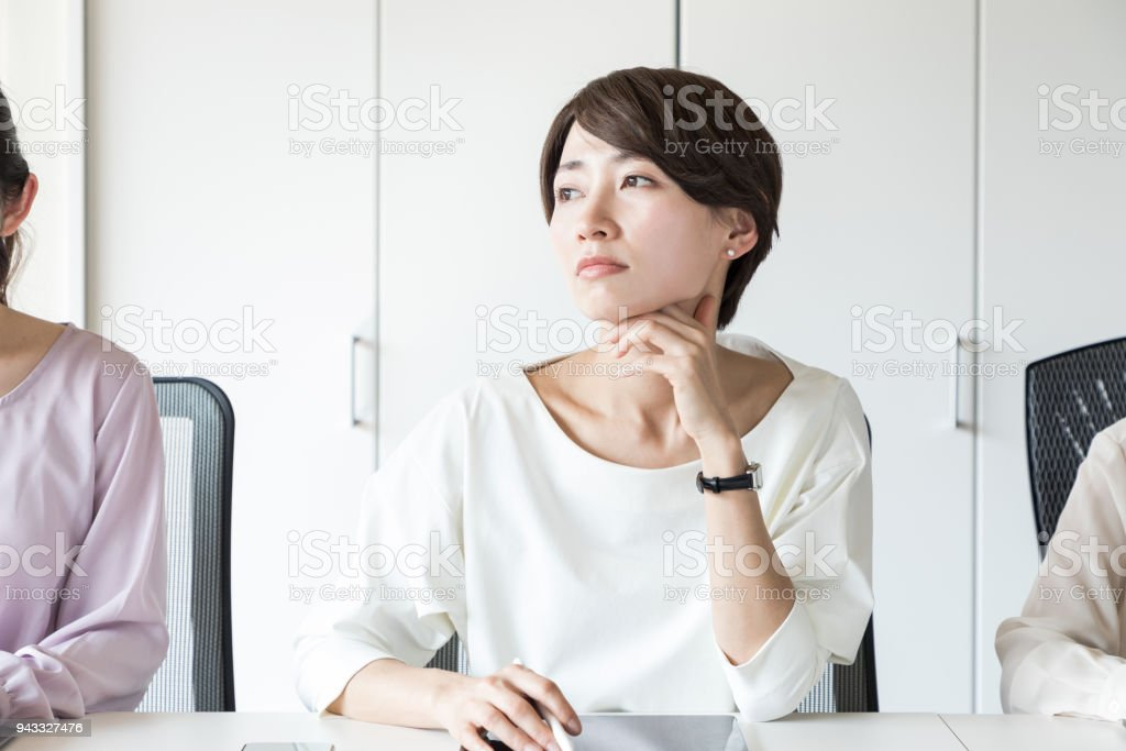 Young asian woman having a question. stock photo