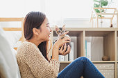 Young Asian woman holding and playing with her cute kitten cat with lovely moment, pet and human concept