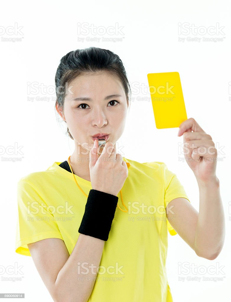 Young asian woman holding yellow card stock photo