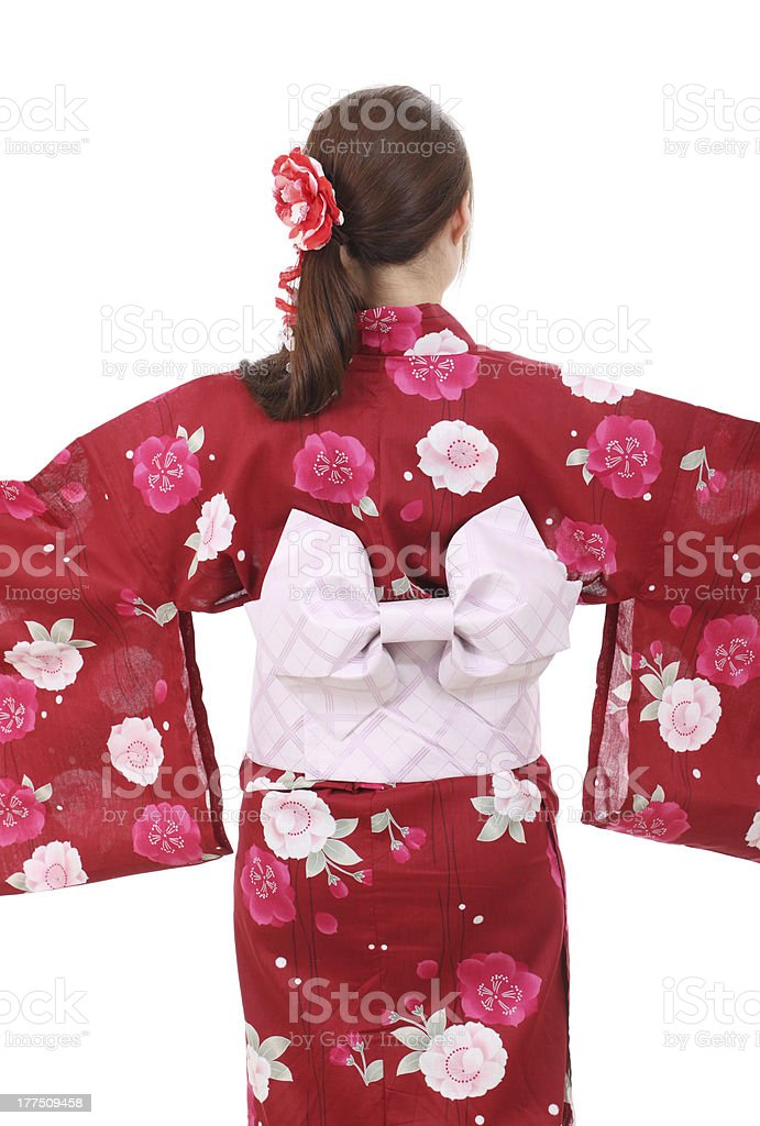 Young asian woman in clothes of kimono, back view stock photo