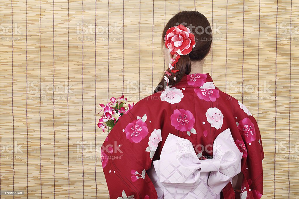 young asian woman in clothes of kimono stock photo