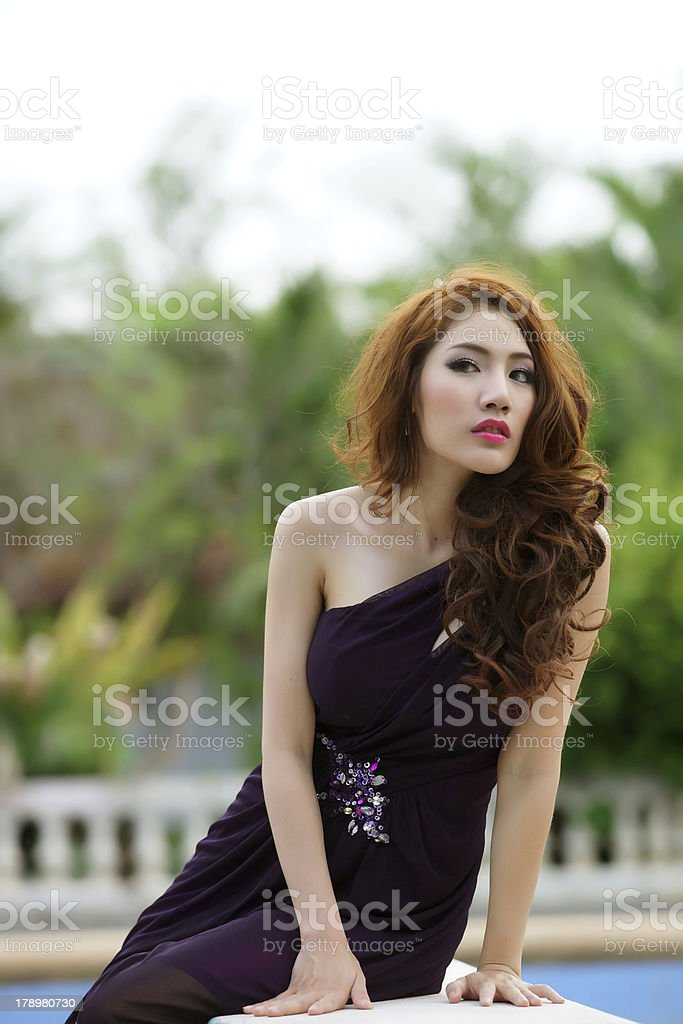 Young Asian woman outdoor portrait royalty-free stock photo
