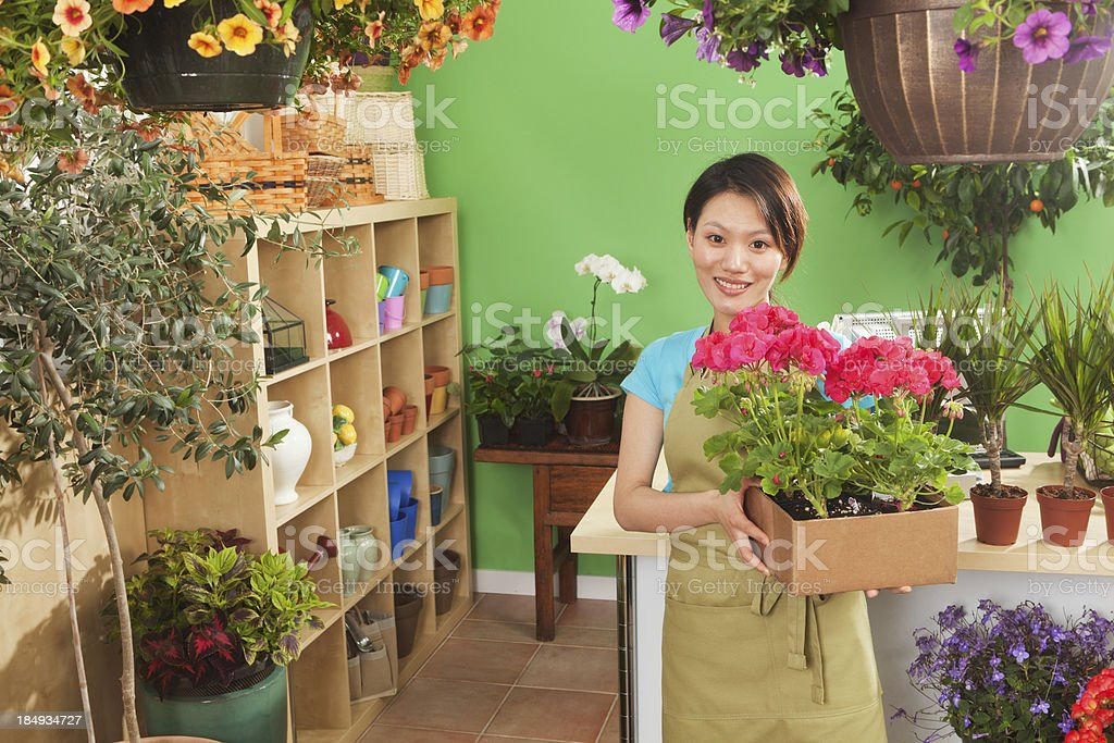 Young Asian Woman Retail Business Owner of Garden Center Hz royalty-free stock photo