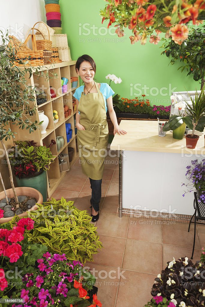 Young Asian Woman Retail Business Owner of Garden Store royalty-free stock photo