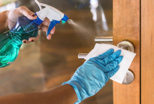 Young Asian woman sanitizing door handle with disinfectant stock photo