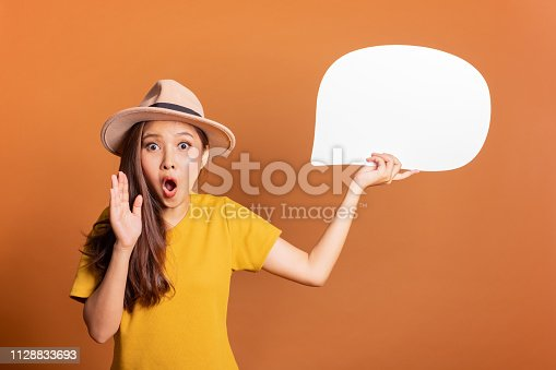 istock Young Asian woman show text box, speech bubble and copy space over orange background, empty space for text and ads, studio light 1128833693