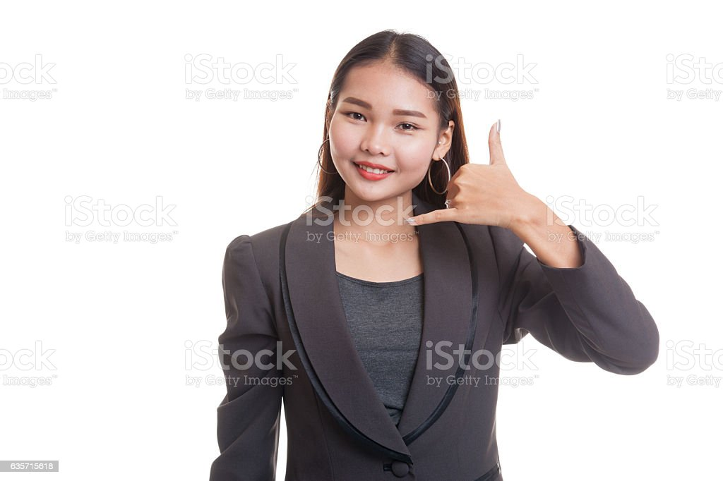 Young Asian woman show with phone gesture. royalty-free stock photo