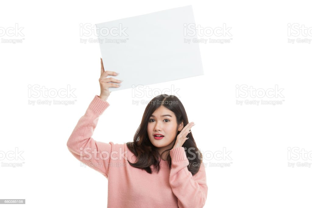 Young Asian woman surprise with white blank sign. royalty-free stock photo