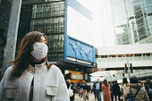 istock Young Asian woman wearing a protective face mask to prevent the spread of germs and viruses in the city 1207793521