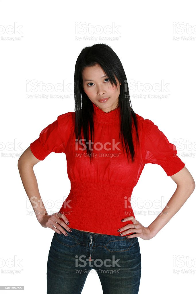 Young Asian woman wearing a red blouse stock photo